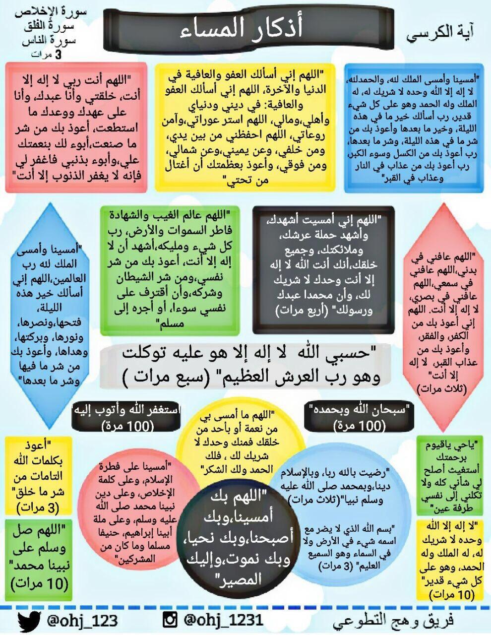اذكار الصباح والمساء - عالم حواء